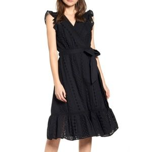 J. Crew black eyelet wrap dress